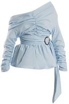 Isa Arfen Asymmetric Ruched Cotton Wrap Top - Womens - Light Blue