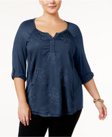 Style&Co. Style & Co Plus Size Embroidered Top, Created for Macy's