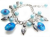 Beautiful Silver Jewelry Blue Glass Bead Link Chain Fashion Charm Bracelet Adjusts to Fit Any Wrist in Gift Box
