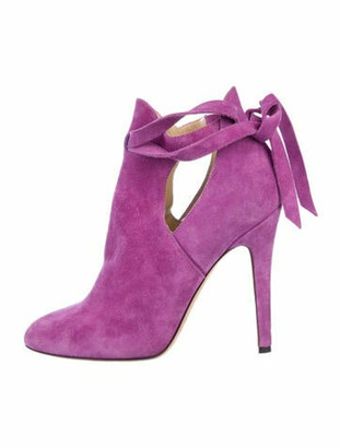 Jimmy Choo Suede Cutout Accent Boots Purple