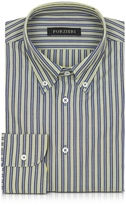 Forzieri Blue and Yellow Striped Cotton Slim Fit Men's Shirt