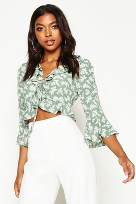 boohoo Tall Floral Print Ruffle Lace Up Blouse
