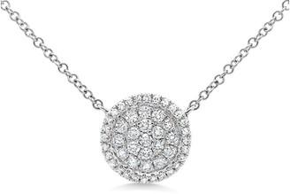 Ron Hami 14K White Gold Pave Diamond Circle Pendant Necklace - 0.27 ctw
