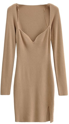 Goodnight Macaroon 'Luca' Wide Neck Ribbed Knit Mini Dress with Slit (4 Colors)