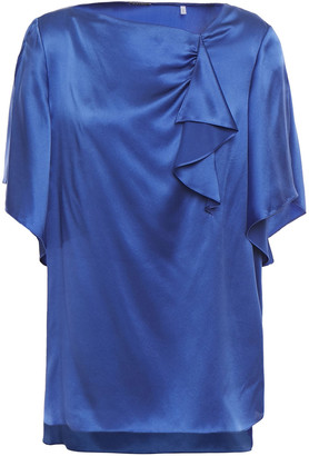 Elie Tahari Tamra Draped Silk-satin Blouse