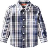 Joe Fresh Toddler Boys' Plaid Button Front Shirt, White (Size 2)