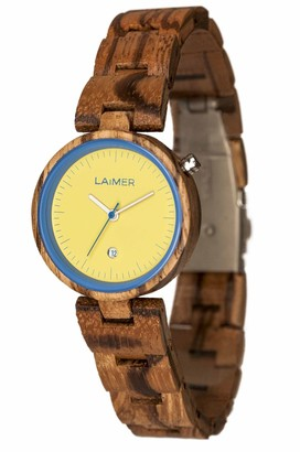 LAiMER wood watch NICKY BLAU womens wristwatch made of 100% Zebrano wood - simple elegance nature & lifestyle