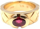 Chanel 18K Yellow Gold Quilted Ruby Band Ring