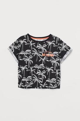 H&M Printed Jersey Top - Black