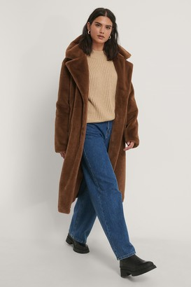 NA-KD Long Belted Faux Fur Coat