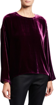 Eileen Fisher Crewneck Long-Sleeve Velvet Top