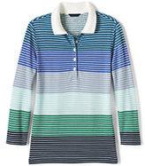Classic Women's Tall 3/4 Sleeve Cotton Pique Polo Shirt-Intense Teal Multi Stripe