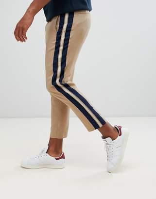 Asos Design DESIGN tapered crop smart trouser in camel with side stripe-Beige