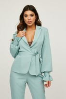 Thumbnail for your product : Little Mistress Limitless Sage Tie-Waist Blazer Co-ord