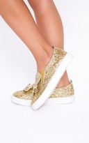 PrettyLittleThing Gold Glitter Bunny Ear Trainers