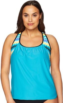 ZeroXposur Women's Plus-Size Plus-Size Inferno 2for Tankini Top Swimwear