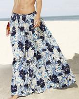Ankle-length, pleated shantung skirt