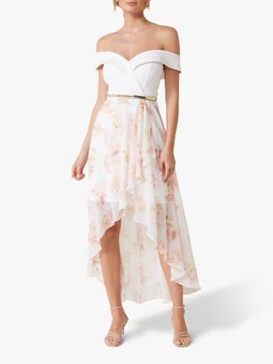 Forever New Rose Print Off Shoulder Dress, White/Multi