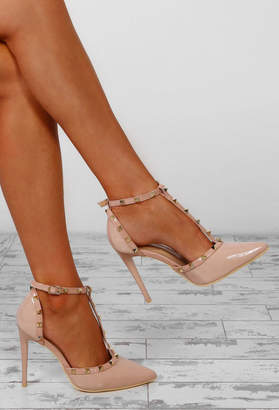 Pink Boutique Rebel Rebel Nude Patent Studded T-Bar Stiletto Heels