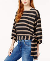 J.o.a. Striped Tie-Hem Top