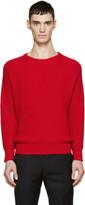 Ami Alexandre Mattiussi Red Rib Knit Sweater
