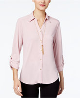 NY Collection Petite Utility Shirt with Necklace