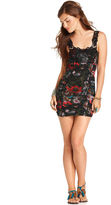 Free People Dress, Sleeveless Scoop-Neck Floral-Print Lace Mini