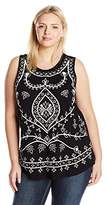 Lucky Brand Women's Plus Size Embriodered Eyelet Tank Top