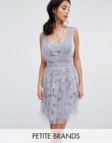Little Mistress Petite Allover Tulle Floral Applique Mini Dress
