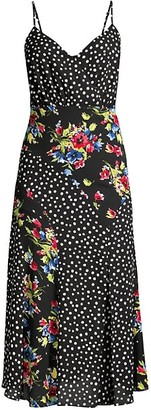 LIKELY Saige Floral & Polka Dot Slip Dress