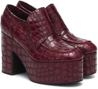 Dries Van Noten Platform croc-effect leather loafers