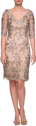 La Femme V-Neck Sheer Half-Sleeve Embroidered Sheath Dress
