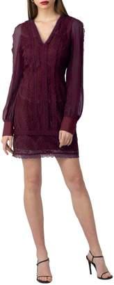 Adelyn Rae V-Neck Lace Chiffon-Sleeve Dress