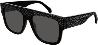 Alaia Flattop Rectangle Studded Acetate Sunglasses