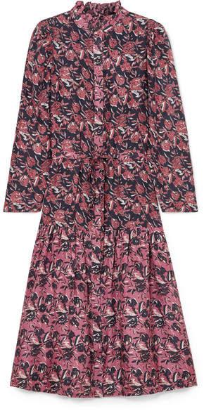 Apiece Apart Marijn Dunegrass Printed Silk Midi Dress - Plum