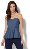 New York & Co. 7th Avenue - Madison Stretch Shirt - Strapless Chambray Peplum Blouse