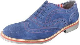 Curito Clothing Curito Watlington Men's Suede Leather Brogue Detail Oxford Shoes - Navy