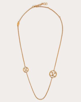Valentino Vlogo Signature Metal Necklace Women Gold Brass 100% OneSize