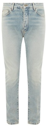 Palm Angels Logo-print Distressed Slim-fit Jeans - Mens - Light Blue