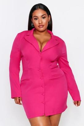 boohoo Button Front Plunge Blazer Dress