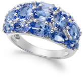 Macy's Tanzanite (6 ct. t.w.) and Diamond (1/8 ct. t.w.) Dome Ring in 14k White Gold, Created for