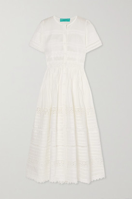 Waimari Camilla Guipure Lace-trimmed Cotton Maxi Dress - White
