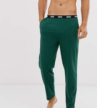Asos Design DESIGN lounge pyjama bottom in khaki with grid check and branded waistband-Gray