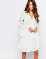 Pull&Bear Long Sleeve Dress With Open Back