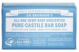 Dr. Bronner's Pure-Castile Bar Soap - Baby Unscented, 5oz. Bars (Pack of 3)