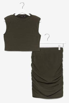 Nasty Gal Womens In a Ruche Crop Top and Midi Skirt Set - Green - 6