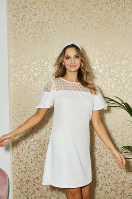 Paper Dolls Watford White Lace Yoke Mini Shift Dress