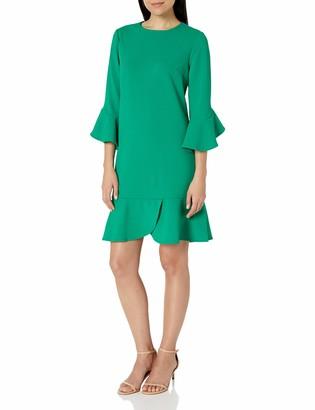 ECI New York Women's 3/4 Ruffle Sleeve and Hem Shift Dress