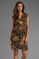 Anna Sui Spring Meadow Birds Combo Print Crepe Dress