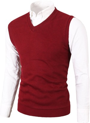 Private Label MIEDEON Mens Casual Slim Fit Knit Vest Sweater Wine Red
